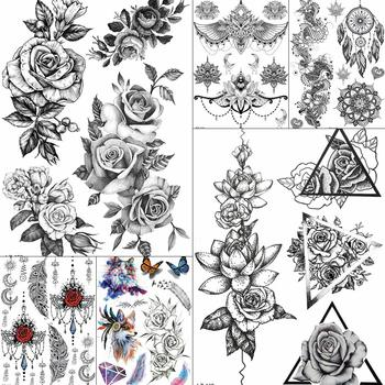 Triangle Black Large Rose Flower Temporary Tattoos For Women BIg Arm Stickers Bohemia Custom Tattoo Waterproof Fake Tatoo Paper