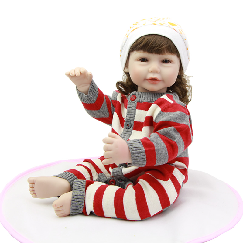 Can Sit And Lie Girl Baby Reborn 20 Inch 50 CM Realistic Newborn Alive Babies With Knitted Romper Kids Birthday Xmas Gift