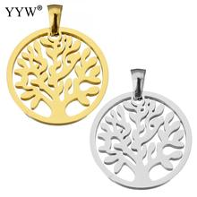 Tree of Life Pendants for Jewelry Making Stainless Steel Gold Color Hollow Pendant DIY Women Men Necklace Accessories