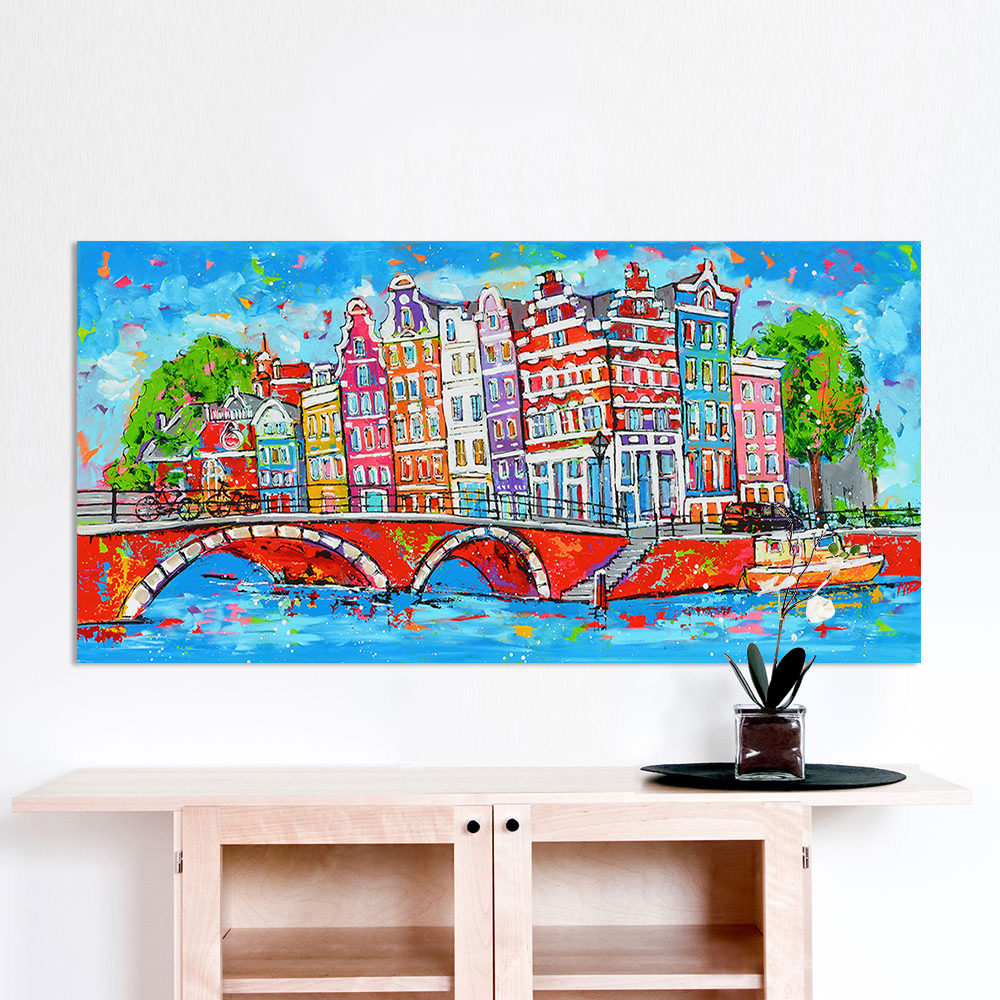 HDARTISAN Vrolijk schilderij Wand Kunst Bild Stadt Amsterdam Leinwand Öl Malerei Landschaft Print Home Decor Kein Rahmen