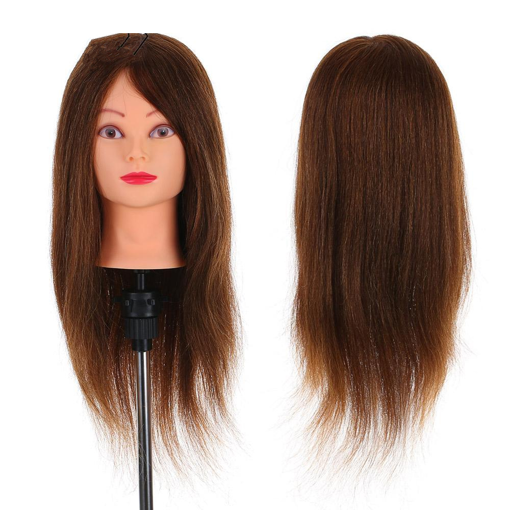 NEW 24 100% Real Human Hair Mannequin Head + Clamp Salon Hair Cutting Braiding Practice Hairdressing Training Head Dummy G0311