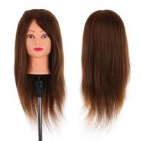 NEW 24 100% Real Human Hair Mannequin Head + Clamp Salon Hair Cutting Braiding Practice Hairdressing Training Head Dummy G0311