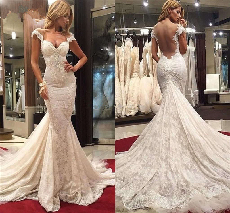 Trouwjurk 2018 Lace Wedding Dresses Long Mermaid Sweetheart Short Sleeves Backless Wedding Gown Bridal Dresses Robe De Mariee