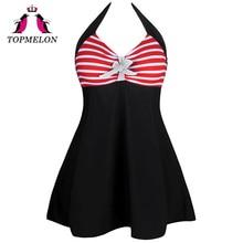 Фотография TOPMELON Swimwear Women 2017 New High Waist Push Up Sexy Plus Size 3XL One Piece Dots Stripe Bow Bathing Suit Beachwear Swimsuit