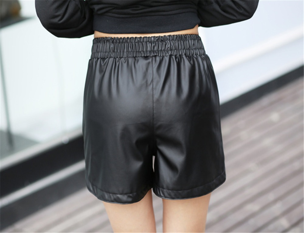 <font><b>Hot</b></font> Sell 2017 women leather short lady <font><b>girl</b></font> <font><b>sexy</b></font> pu summer shorts <font><b>hot</b></font> mini capris <font><b>girl</b></font> faux leather short with pocket S-<font><b>XXL</b></font> Size image