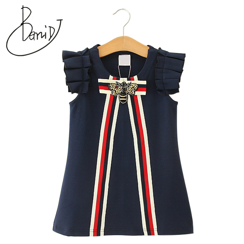 2019 Party Wedding Vestidos Infant Children Clothes Retail Baby Girls Dresses 3-8T Princess Girl Striped Bow Dress O-neck Tops