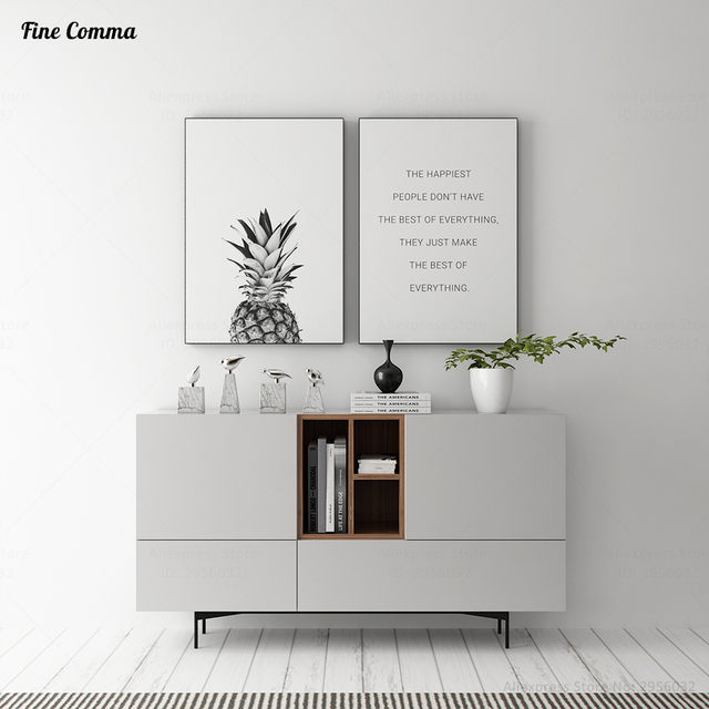 living room art decor furniture trends scandinavian pineapple ananas quote nordic posters and prints wall picture for canvas print