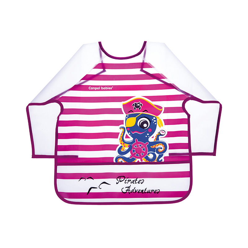 Bib Canpol Babies Apron with sleeves, 36+ Pirates pink pink long sleeves irregular hem knitted cardigan