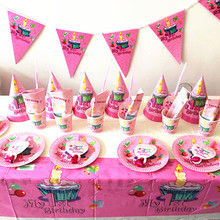 64PCS/LOT MY FIRST BIRTHDAY PARTY SET GIRLS FAVOR 1ST THEME PLATES KIDS DECORATION SETS