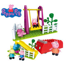 Genuine Peppa Pig mummy-carro do Brinquedo balanço de slides playground exterior Building Blocks set toy Educacional-com a figura peppa suzy(China)