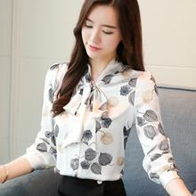 2018 fall winter shirt chiffon bow tie Women blouses flower print long-sleeved women tops shirts blusas 183E