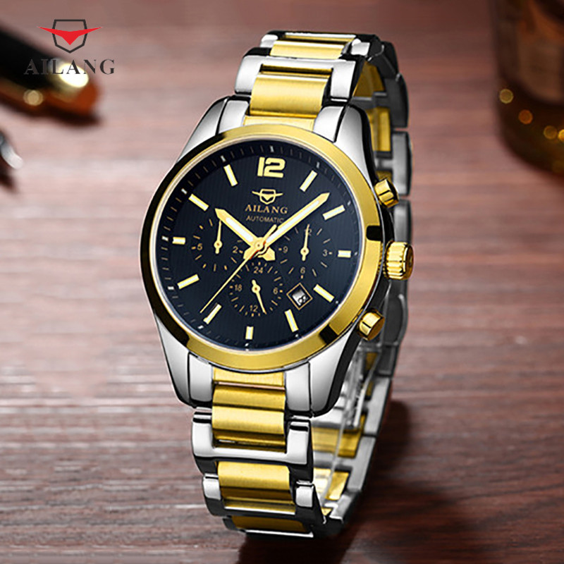 AILANG Men Watch Business Calendar Tasteful Workplace Steel Honorable Masculine Waterproof Gold Black Dial Luminous Effect A046 карликовое дерево china seeds pachyderms 30 wer90