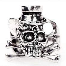 Gothic Silver Color Skull Rings For Men Jewelry Opening Size Hat Bone Female Male Punk JZGJ005