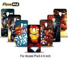 Casos Capa Para Alcatel One Touch Pixi 3 Pixi3 4.5 Polegada 4027X 4027D 4028A 4028E Superman Homem De Ferro PC Print Case Capa Do Telefone Shell