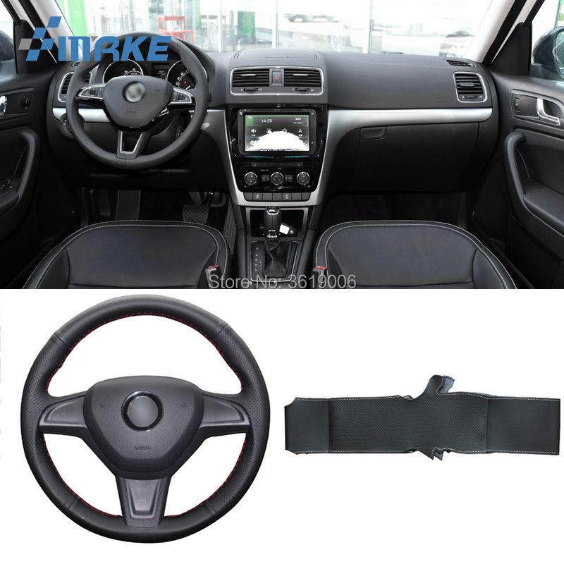For Skoda Yeti 2014-2016 High Quality Hand-stitched Anti-Slip Black Leather White Thread DIY Steering Wheel Cover