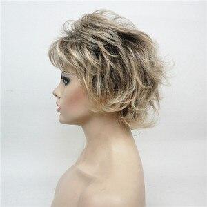 Image 4 - StrongBeauty vrouwen Synthetische Pruiken Gelaagde Korte Rechte Pixie Cut Bloned Mix Natura Volledige Pruik