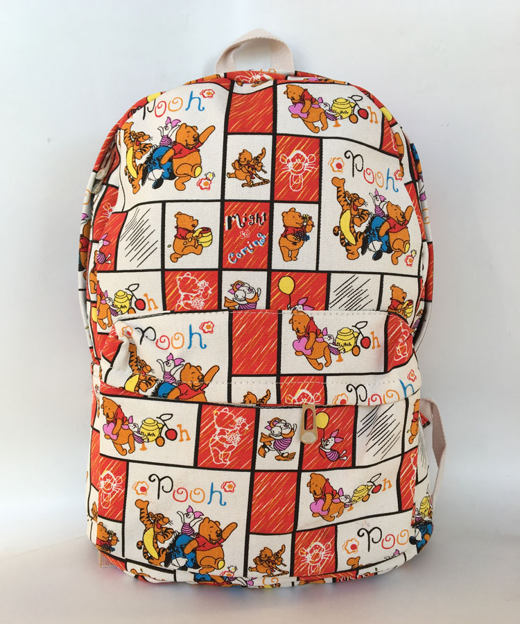 Printing Backpack Cute Bear Pooh Canvas Backpack Student School Bag  Graffiti Backpack for Teenage Girls Boys Fashion Travel Bags-in Backpacks  from Luggage ... ebcd0f489