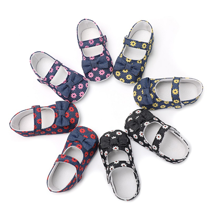 Weixinbuy Summer First Walker Baby Girls Princess Shoes Newborn Daisy Print Toddler Shoes Newly Casual For 6-18M