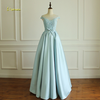 Loverxu Romantic Blue Long Taffeta Evening Dresses 2019 Scoop Neck Appliques A Line Formal Party Gown Robe De Soiree Plus Size