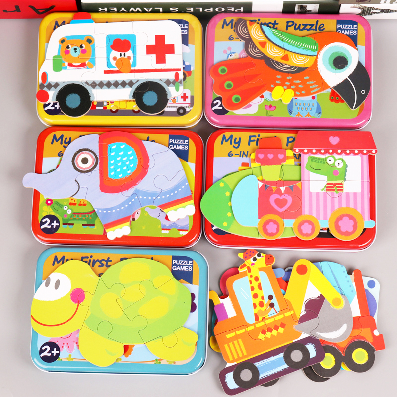 6 pcs Children First Puzzle Wooden Cartoon  Animals Vehicle for Kids Baby Early Learning Educational Toy 2 years old