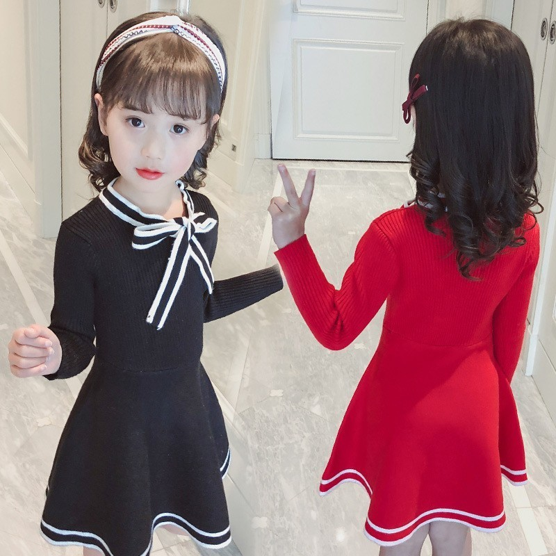 Big Girls Knit Sweater Dress Long Sleeve School Little Girls Princess Party Dresses Knitted Child Fall Winter Red Black Clothing toddler girl knit dresses mermaid dress for kids girls sweater dress autumn long sleeve cotton knitted wool sweater fall dress