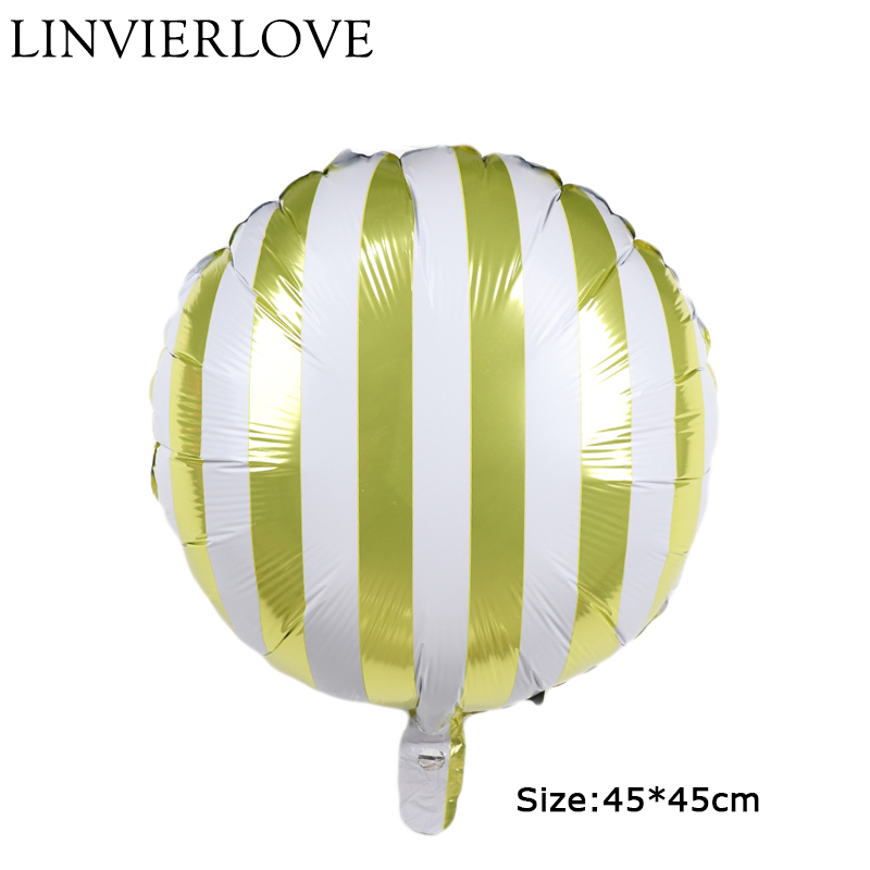 Charitable 18inch Yellow Candy Stripe Aluminium Foil Balloons Inflatable Helium&air Birthday Wedding Balloons Party Decor Child Gifts Toys Elegant Shape Drone Bags
