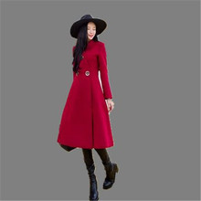 2016 Fashion Winter Women Jacket Red Wool Coats Thicken Winter Long Coat Female Warm Jacket Plus Size Women Coat Jacket A2112