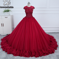2018 O Neck Ball Gowns Burgundy Wedding Dress With Color 3D Flowers Applique With Rhinestones Crystals