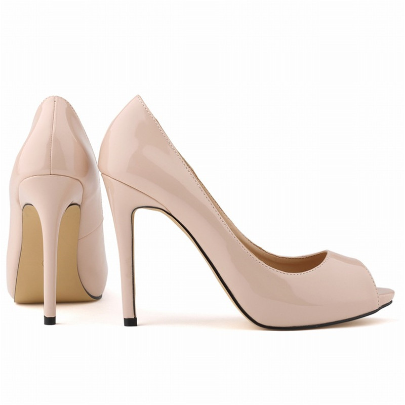 WOMENS PU Leather Stiletto High Heel Pointed Open Toed Corset Style Work Pumps Court Shoes <font><b>11</b></font> cm Heel <font><b>Nude</b></font> Red Femma Chaussure