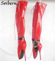 Sorbern цвет на заказ SM балетки на высоком каблуке 18 см/7 ботфорты Для женщин Готический сексуальный фетиш Обувь на высоких каблуках новый плюс