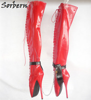 Sorbern Custom Color SM Ballet High Heels 18cm/7 Over The Knee Boots Women Gothic Sexy Fetish High Heel Shoes New Plus Size