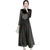 European Style Women S Fashion Velvet Warm Dresses A Line Pleated Vintage Party Dress Half Turtleneck