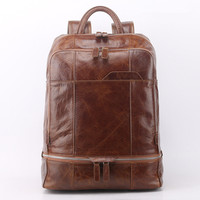 Luxury Vintage 100 Genuine Leather Men Backpack Natural Cow Leather Men S Travel Bags Casual Zipper