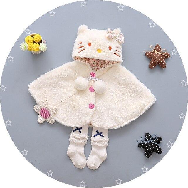 2016 Мультфильм новорожденных девочек принцесса плащ cat дизайн новорожденных девочек куртка луки партия пальто для зима Толстая одежда infantil menina