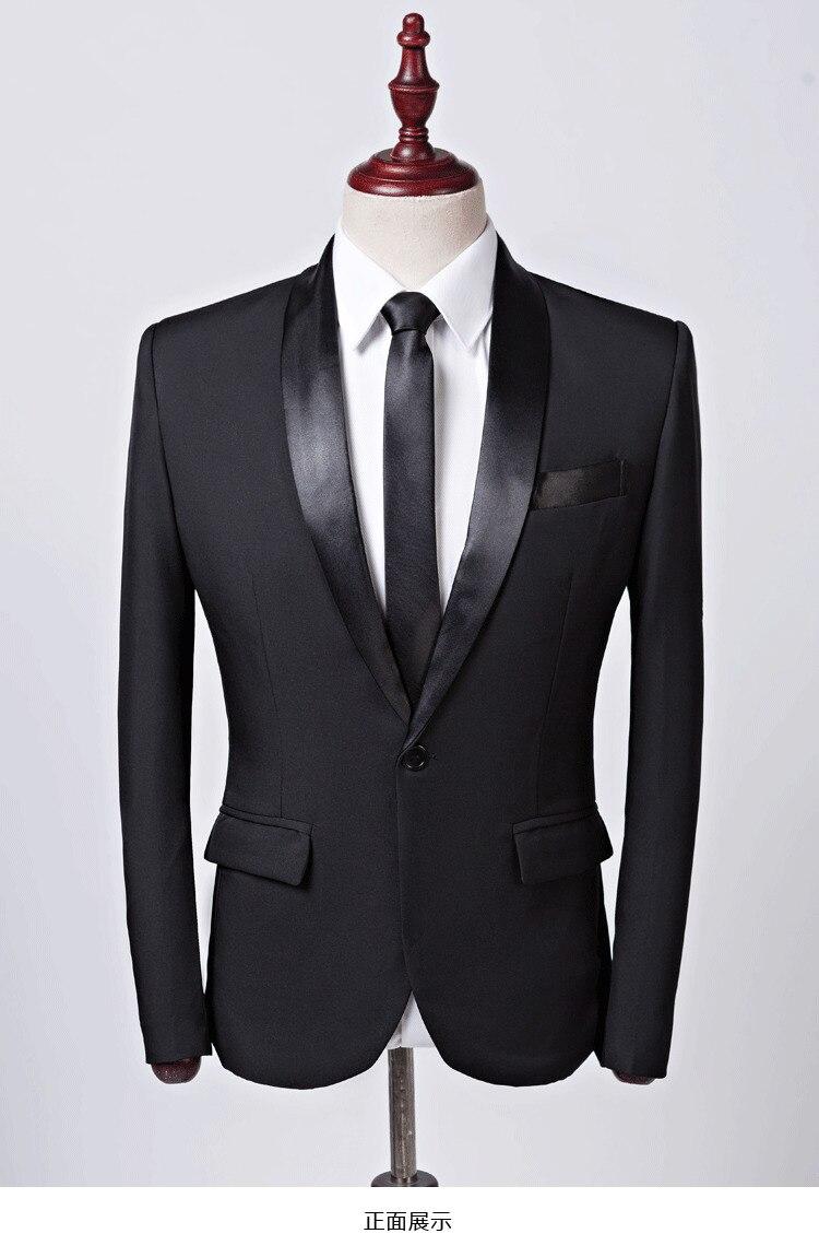 Usted tiene que asegurarse de que antes de sobornar un PYJTRL marca Casual para  hombre chaqueta de traje negro banquete fiesta boda padrino negocios ... a594aea13d2
