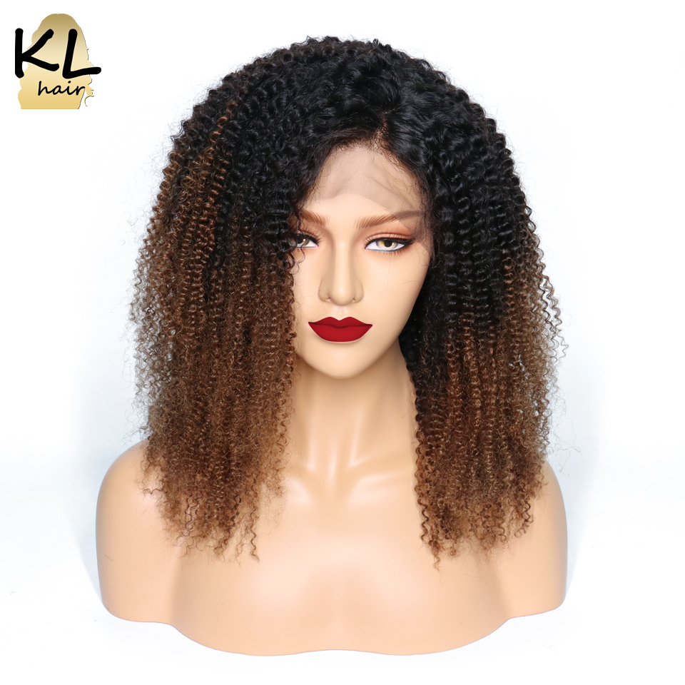 13 4 Kinky Curly Lace Front Human Hair Wigs For Black Women Ombre T1B 4 Pre