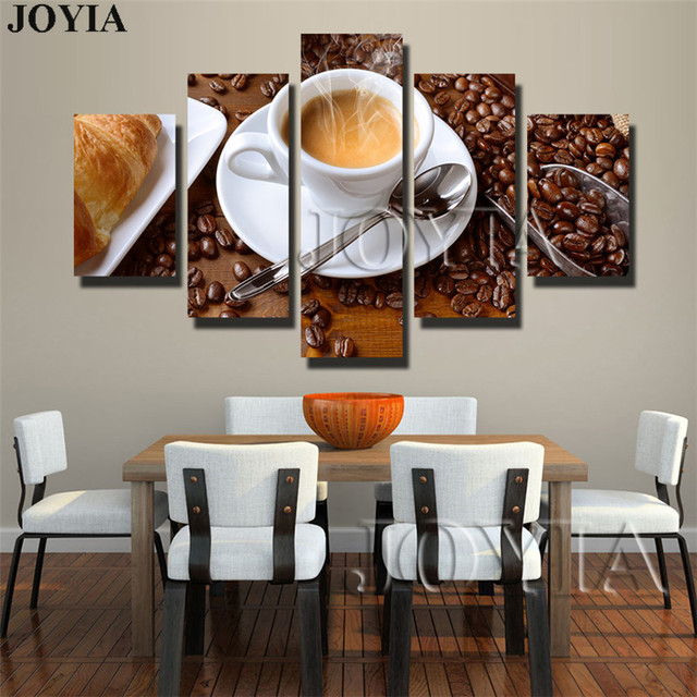 5 Piece Canvas Art Steaming Coffee Cup Pictures For Wall Living Room Kitchen Food Prints Painting