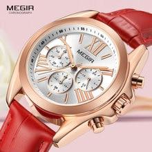 MEGIR Womens Casual Quartz Red Watches Chronograph Leather Strap Business Wristwatch for Lady Relogios Feminiinos Clock 2114