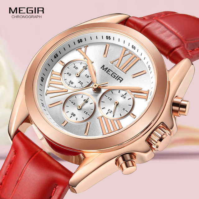 Megir 女性のカジュアルクォーツレッド腕時計クロノグラフレザーストラップビジネスの腕時計 relogios feminiinos 時計 2114