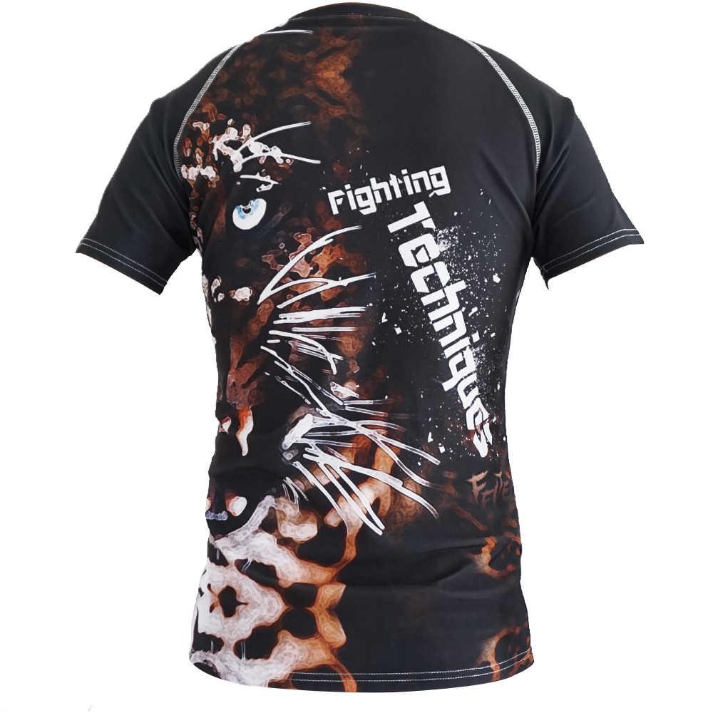 Rashguard mma aptidão tatuagem tigre padrão de boxe esportes camisola manga curta boxe jerseys tigre muay thai