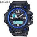 Hombres deportes relojes de doble pantalla relojes boamigo marca reloj de cuarzo electrónico azul analógico led digital 50 m impermeable reloj de los hombres