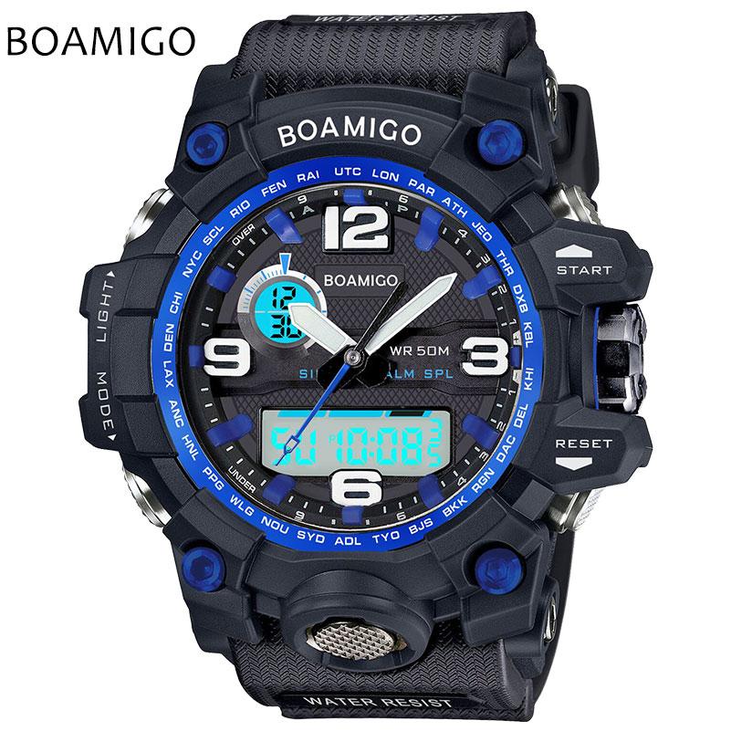 Prix pour Hommes montres de sport double affichage montres BOAMIGO marque montre Électronique à quartz bleu analogique numérique LED 50 M étanche horloge hommes