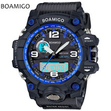 men sports watches dual display watches BOAMIGO brand Electronic quartz watch blue analog digital LED 50M