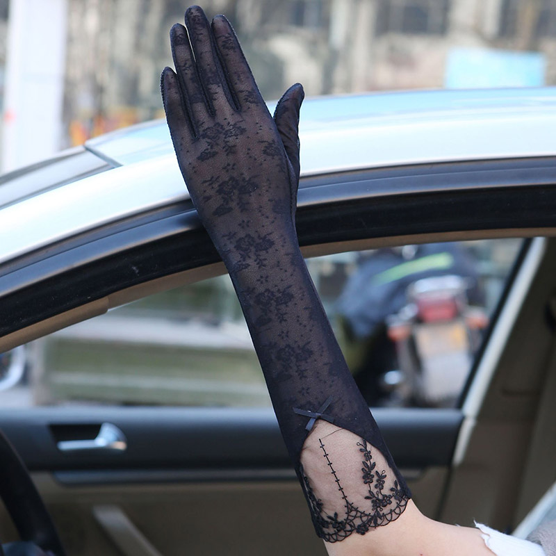 Sexy Spring Summer Women Autumn UV Sunscreen Long Sun Gloves Fashion Ice Silk Lace Driving Of Thin Touch Screen Gloves 07B