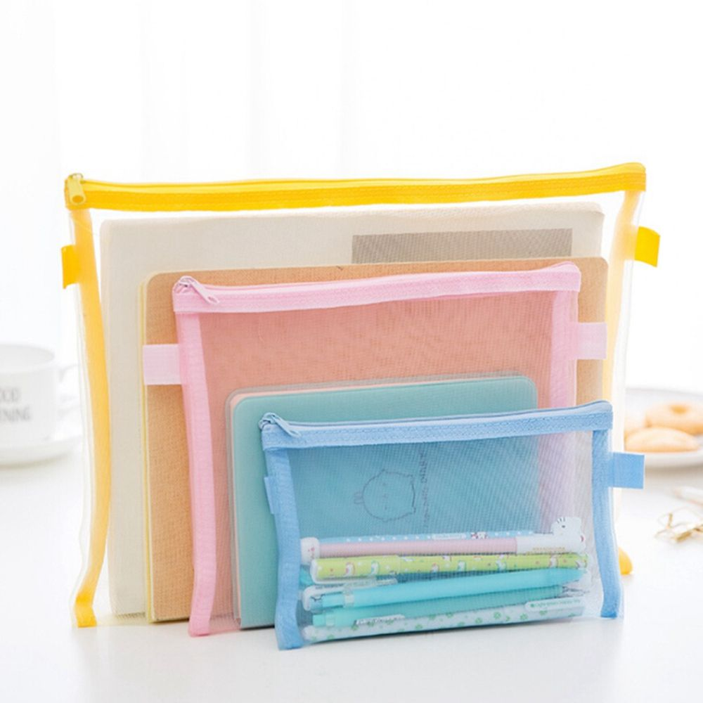 1PC Fashion Women Transparent Nylon Cosmetic Bag Storage Bag Multifunction Simple Mesh Zipper Makeup Bag 6Colors 2018 NewPopular