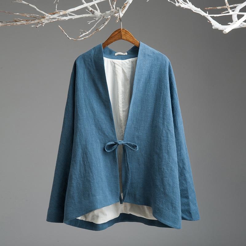 Johnature Women Cotton ผ้าลินินแจ็คเก็ต 2019 ฤดูใบไม้ผลิใหม่ Vintage สีทึบ Lace Up แขนยาวคุณภาพสบาย-ใน แจ็กเก็ตแบบเบสิก จาก เสื้อผ้าสตรี บน   1
