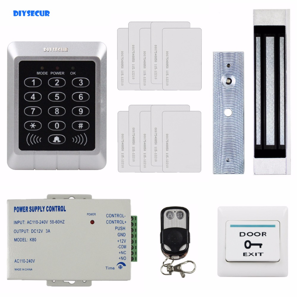 DIYSECUR Remote 125KHz RFID Password Keypad Access Control System Security + 180kg Magnetic Lock For Office / Home Improvement diysecur magnetic lock door lock 125khz rfid password keypad access control system security kit for home office