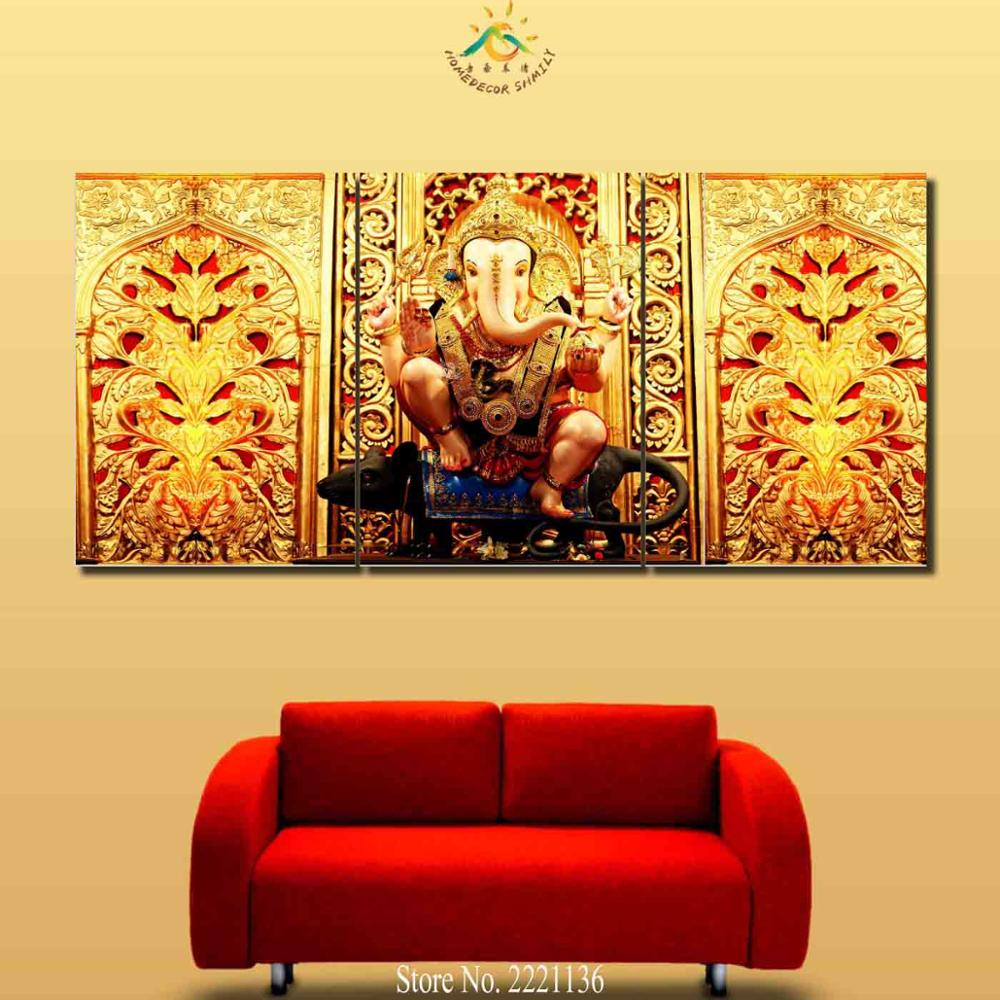 3 4 5 Pieces Ganesh Elephant Buddha Golden Wall Art Pictures Canvas ...