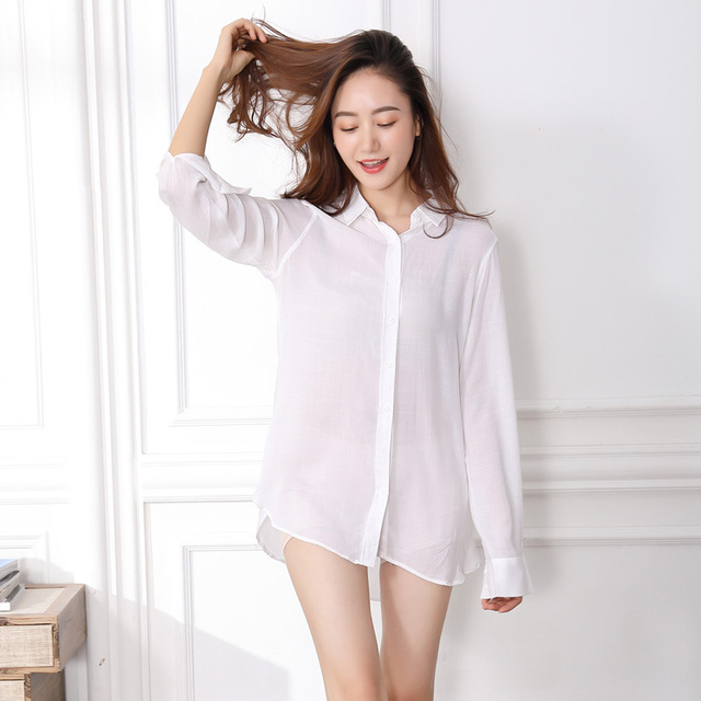 Sexy Sleep Shirts Women Night Shirt Sexy Nightwear Sexy Sleepwear Long  Sleeve Lazy Boyfriend White Nightgowns Nightshirts e497f5cee