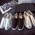 2016 Mujeres del Resorte de Lentejuelas de Tela zapatos planos de Deslizamiento en los zapatos de Los Holgazanes Negro Sólido Zapatos Casuales zapatos de mujer de Plata de Oro
